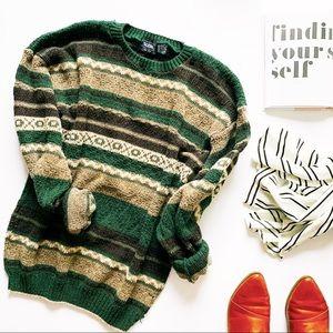 Vintage bohemian cotton grandpa oversized sweater